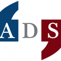 American Dialect Society Logo in blue, white, and red